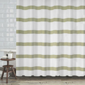 Image Is Loading Popular Bath Mulberry Sage Green Stripe White Fabric