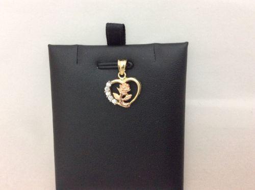 10K Tri color gold Flower pink Heart Charm pink Pendant CZ 1.8gram