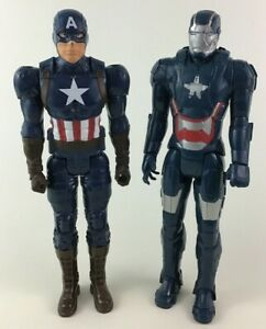 "Avengers Iron Patriot Captain America Action Figures 2pc Lot 12"" Hasbro Marvel"