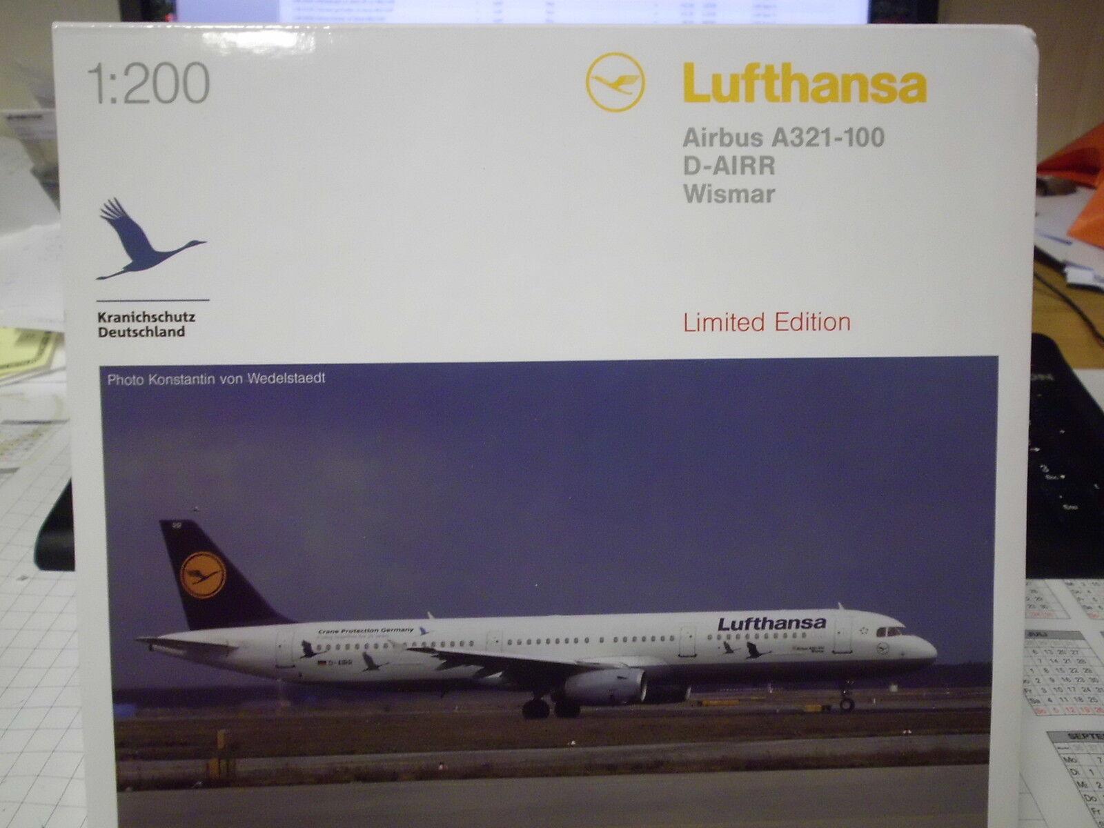 Herpa 1 200 558563 Lufthansa Airbus a321  25 anni di prossoezione della gru  NUOVO OVP