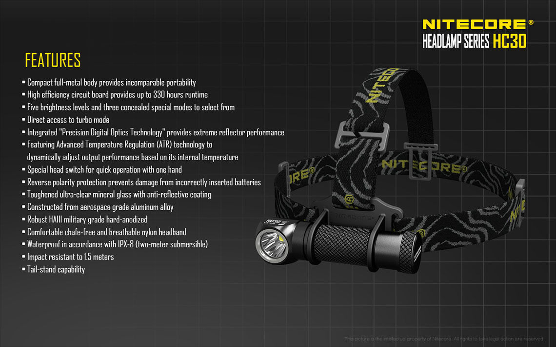 Nitecore HC30W LED Neutral Weiß LED HC30W Headlamp - 1000 Lumen w/NL183 18650 Battery 6fbac5