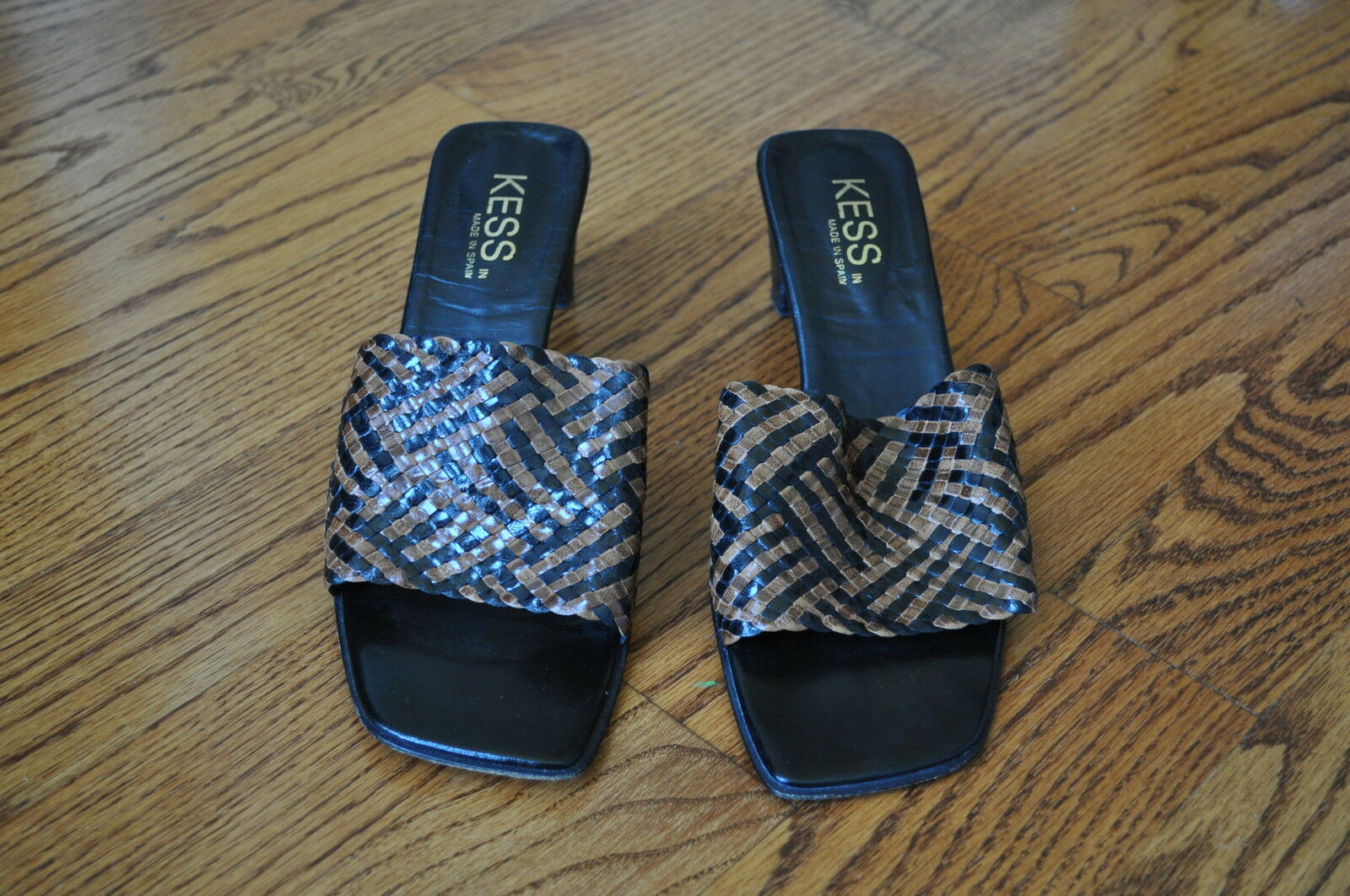 Womens KESS Brown Black Leather Sandals shoes Size 9 M   MADE IN SPAIN