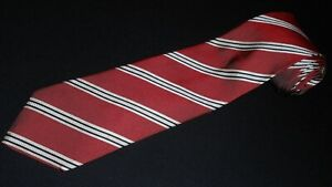 Ermenegildo-Zegna-Tie-Red-White-Woven-Italian-Stripe-Luxury-100-Silk-Necktie