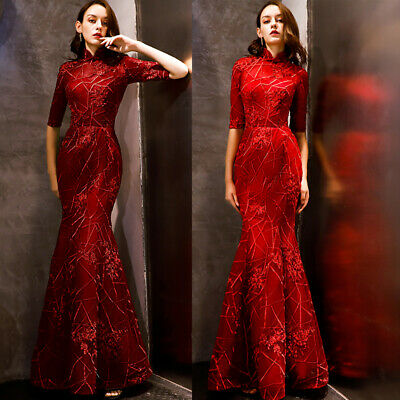 NEW Evening Formal Party Ball Gown Prom Bridesmaid Fishtail Sequins Dress YSGZ21