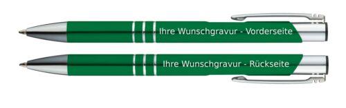 50 Kugelschreiber aus Metall mit beidseitige Gravur Farbe grün