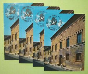 Lotto-Stock-4-CARTOLINE-Annullo-Speciale-5-Cent-Nascita-Ariosto-1974-Ferrara