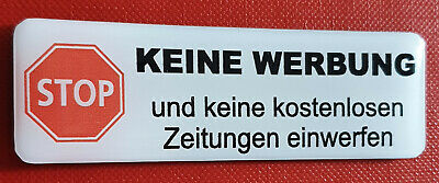 """3D Gel Aufkleber Briefkasten /""""STOP Bitte keine Werbung/"""" Wetterfest 70 x 20 mm"""