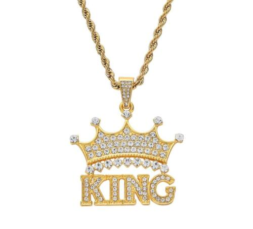 King Crown Necklace Gold Silver Iced Out Hip Hop Jewelry Bling Gift Chain Plated