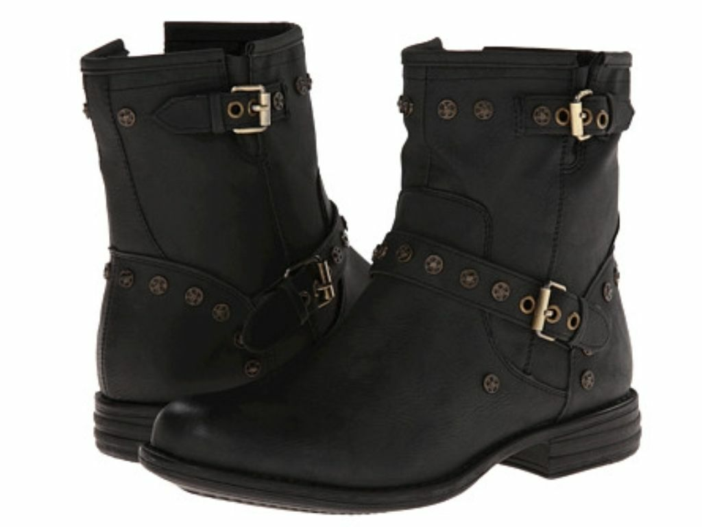 SKECHERS~MAD DASH-RIVETS Womens Ankle Studded Boots~Black Faux Leather~Sz 11