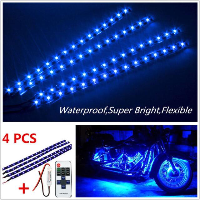 Wireless Remote Control Motorcycle Blue Led Light Strip Kit For Harley Davidson