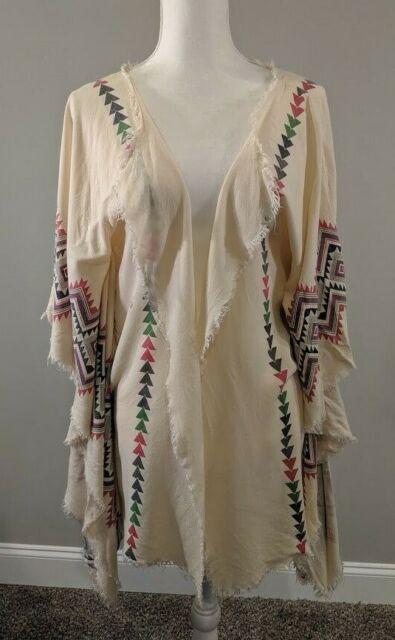 Umgee Aztec Kimono Top Raw Edges Womens Size L
