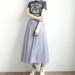 62cb14eca New Puff Women White faldas High waist Midi Knee Length Chiffon ...