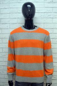 TOMMY-HILFIGER-Maglione-a-Righe-Uomo-Pullover-Lana-D-039-agnello-Taglia-2XL-Sweater