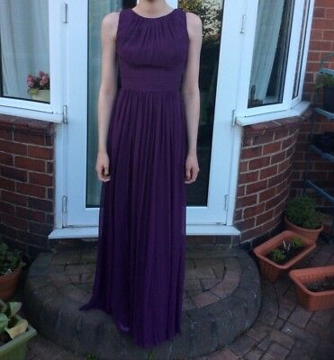 100% Vero Dessy Collection,vivian Diamond Bridesmaid Dress In Aubergine Purple.