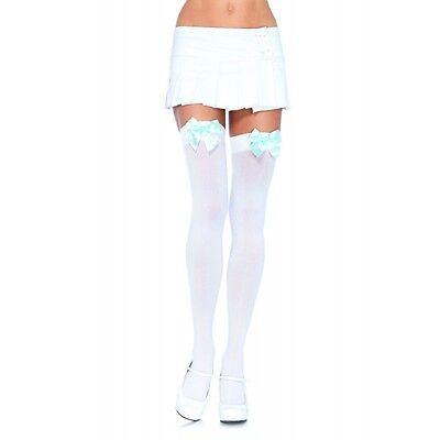 Sexy White Opaque Halloween Costume Thigh High Stockings Hosiery w/ Bow LA-6255