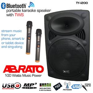 ABRATO TY-1200 + DAC (S-TV) BLUETOOTH KARAOKE POWERED SPEAKER + 2 WIRELESS MIC'S
