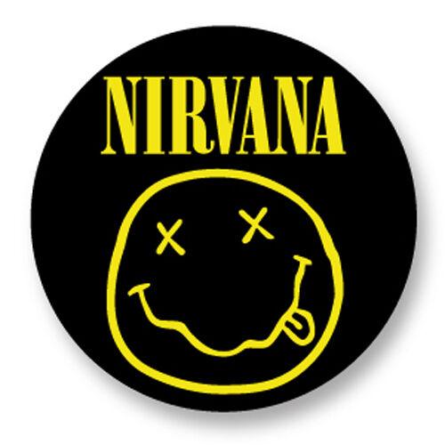 Porte clé Keychain Ø45mm Nirvana Kurt Cobain Grunge Smiley Face Jaune Yellow