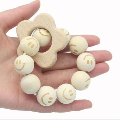 Natural color Wooden Baby Teether bracelet Beaded Molar Stick Safe Wooden Beads