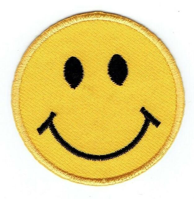 Large Yellow Smiley Face Emoji//Emoticon Iron on Applique//Embroidered Patch