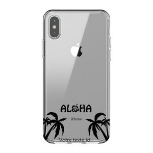 Coque Iphone XS MAX palmier aloha noir personnalisee