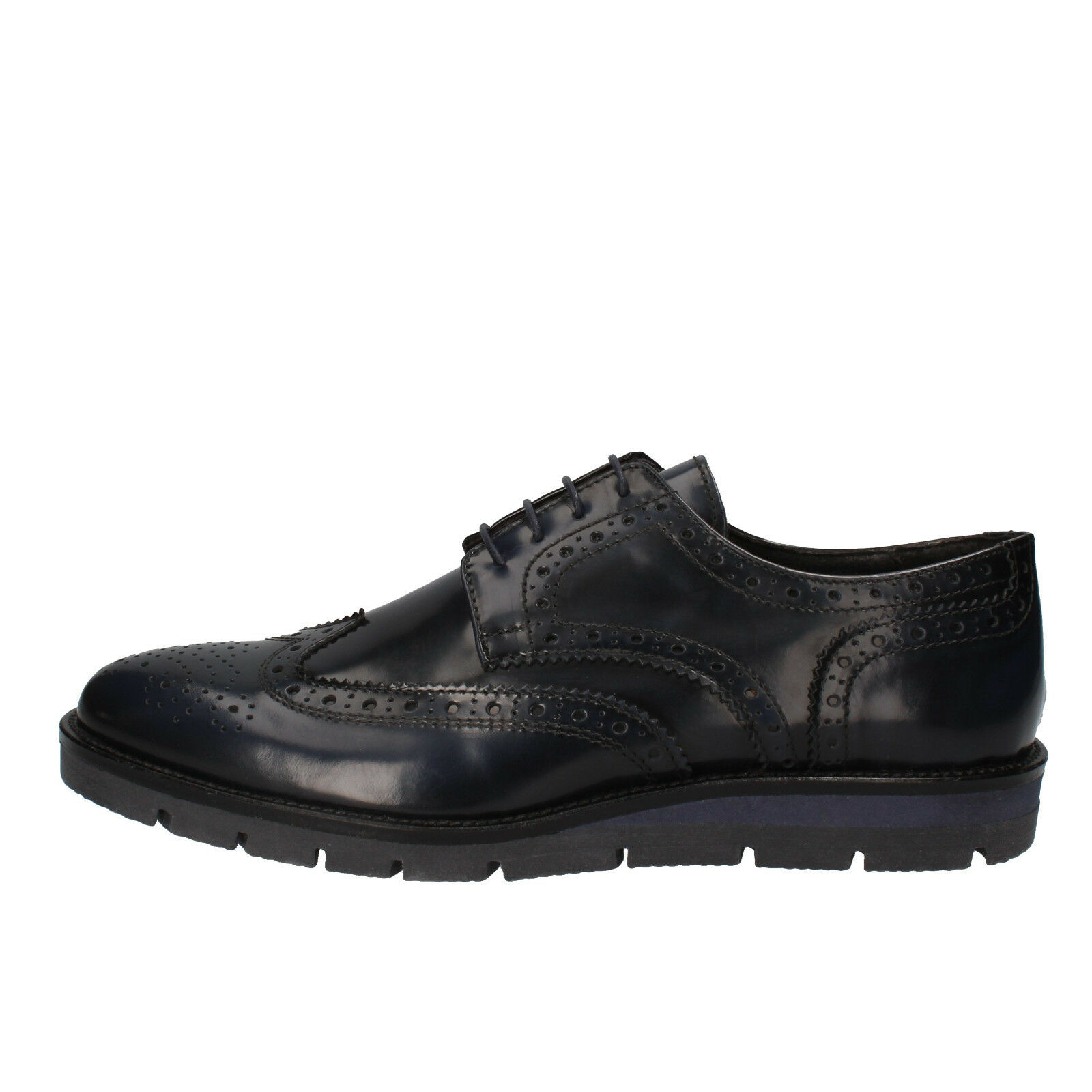 Mens zapatos J BREITLIN 7 (EU 41) elegant azul shiny leather AD13-B