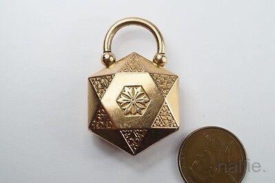 UNUSUAL ANTIQUE VICTORIAN GOLD FILLED PADLOCK CLASP c1890
