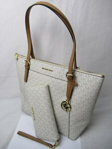 3ec472d8dc0958 MICHAEL KORS CIARA EW TOTE VANILLA SHOULDER BAG + CONTINENTAL WALLET ...