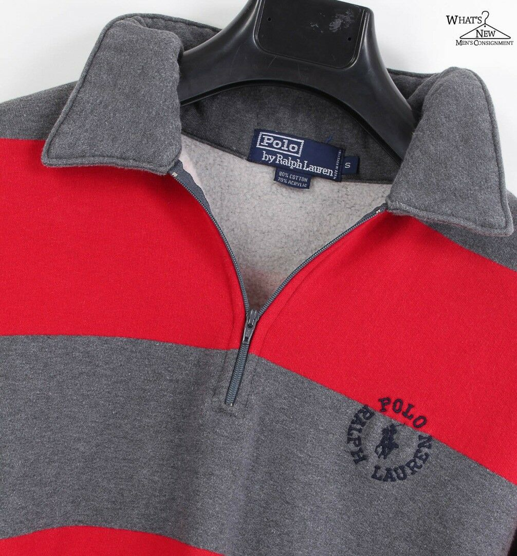 Vintage Polo Ralph Ralph Ralph Lauren Marcato Rosso Grigio Righe 1 2 FELPA con ZIP Taglie d8ef88