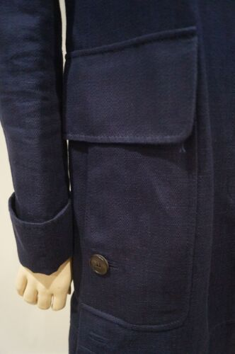 Collared amp; Women's Navy Trench Cotton Mac Linen Valentino Uk8 It40 Coat Blue dY7q7I
