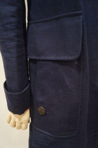 It40 Cotton Linen Trench Mac Coat Women's Navy Valentino Blue amp; Uk8 Collared tvTxgq
