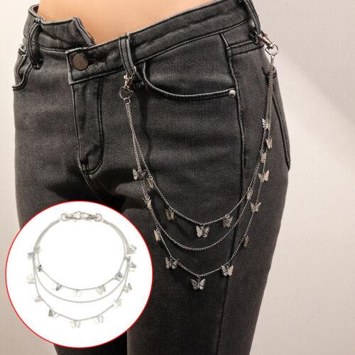 Punk Butterfly Belt Waist Chain Women Pants Multi Layer HipHop Keychain Jewel/_fr