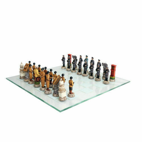 15  WWII USA vs Germany Polystone Chess Set with Glass Chess Board