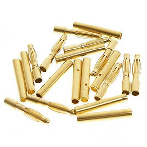 20-Pairs-Gold-Tone-Metal-Audio-Telephone-Device-2mm-Dia-Banana-Connector-Gift