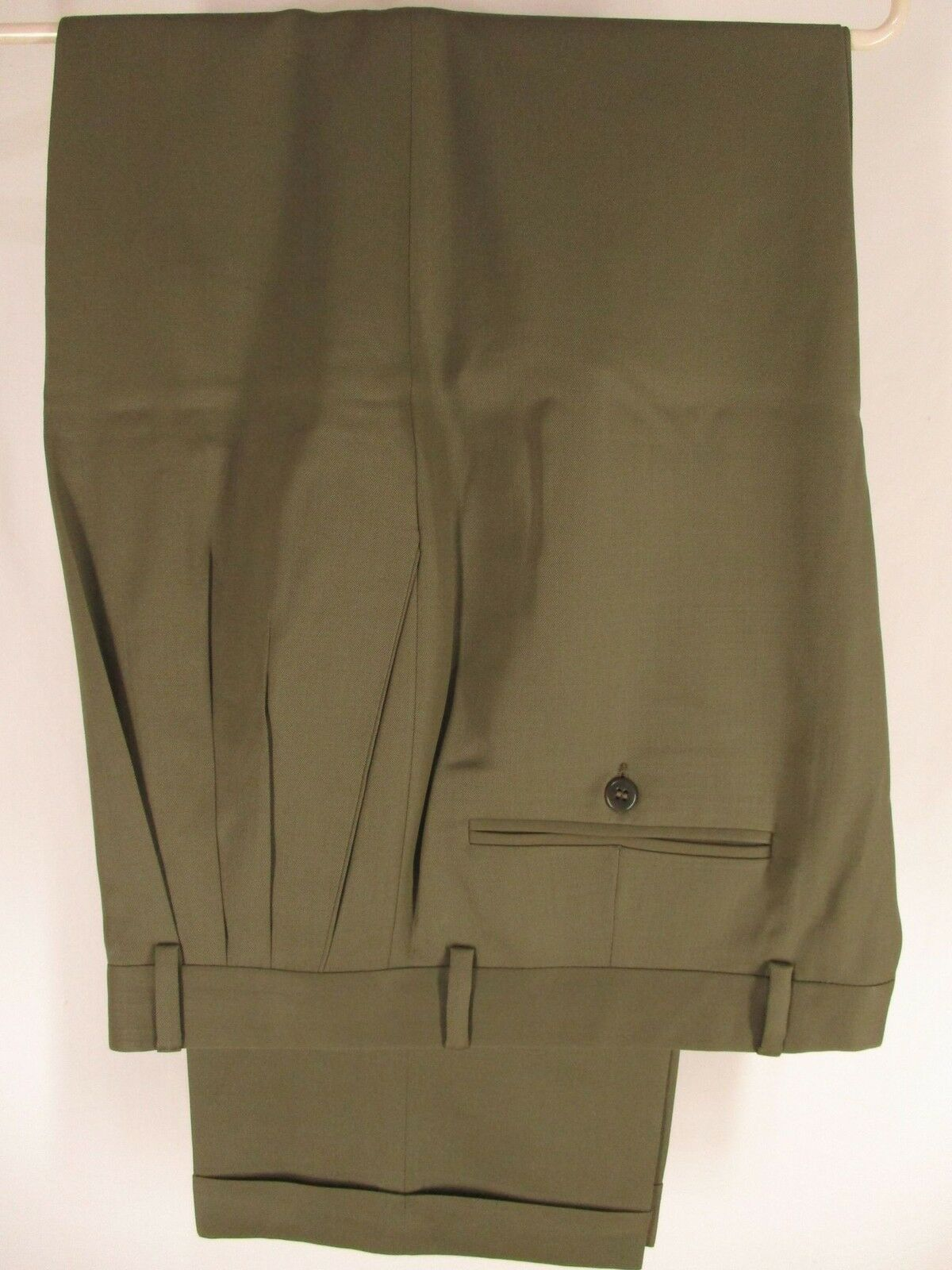 Zanella Alter Mens Olive Pleated Wool Dress Pants Size 34 34x29.5