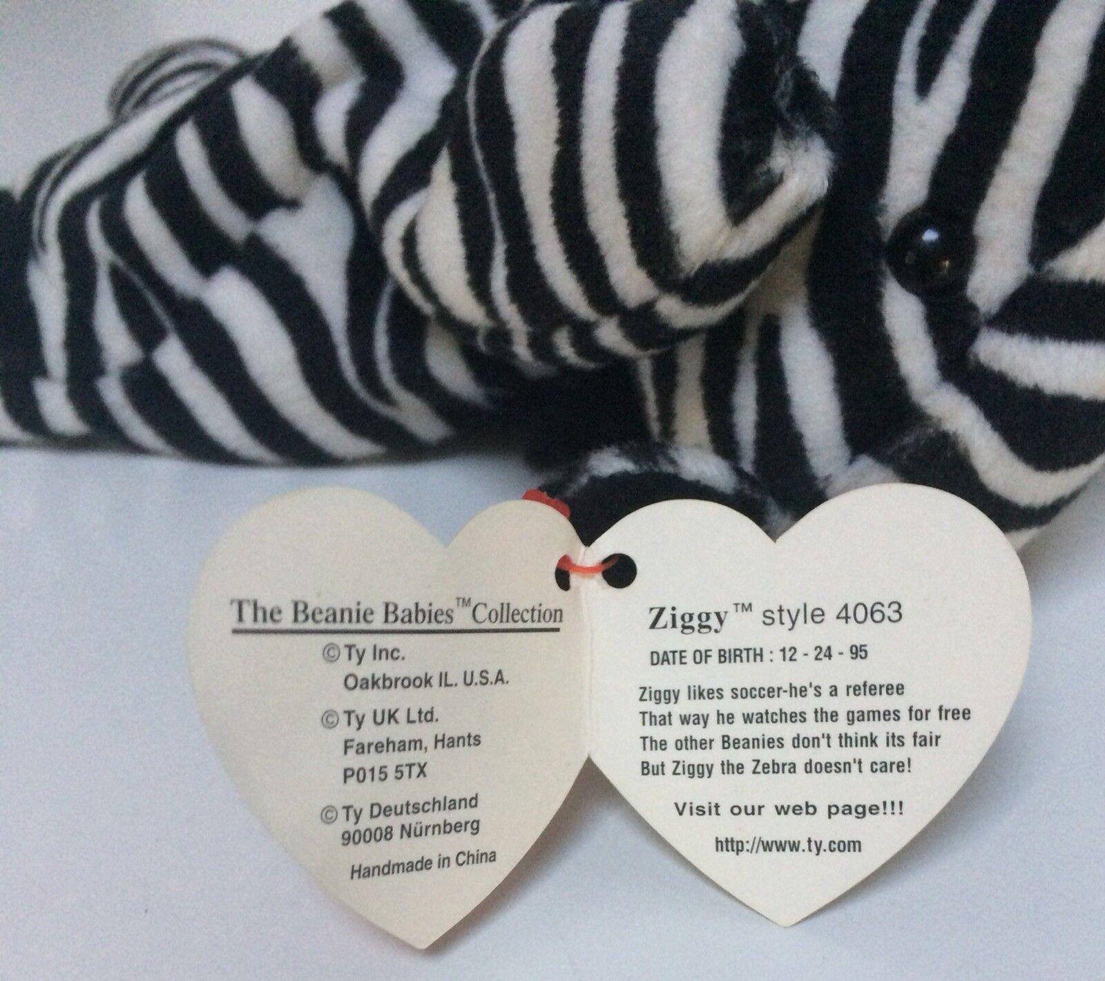 Ty Beanie 'Ziggy' Zebra Zebra Zebra Tush & Tag Errors German & KR Limited 1st Edition 765487