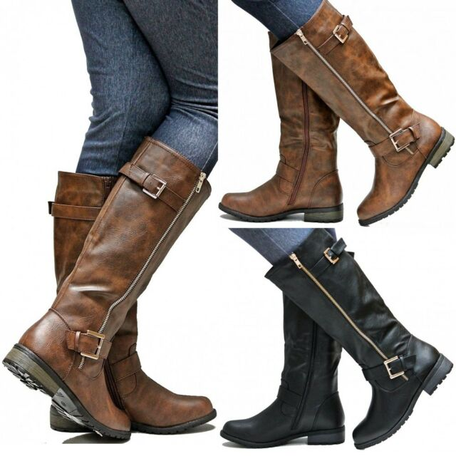 New Women FMg51 Brown Black Gold Zipper Knee High Riding Boots 5.5 to 10