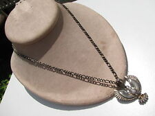 SILVER TONE METAL CHAIN EAGLE BIRD PENDANT NECKLACE LOBSTER HOOK CLASP 23.8 GRAM