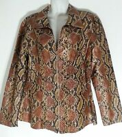 Jerry T Snake Print Light Jacket/top With Rhinestone Zipper 2x 22