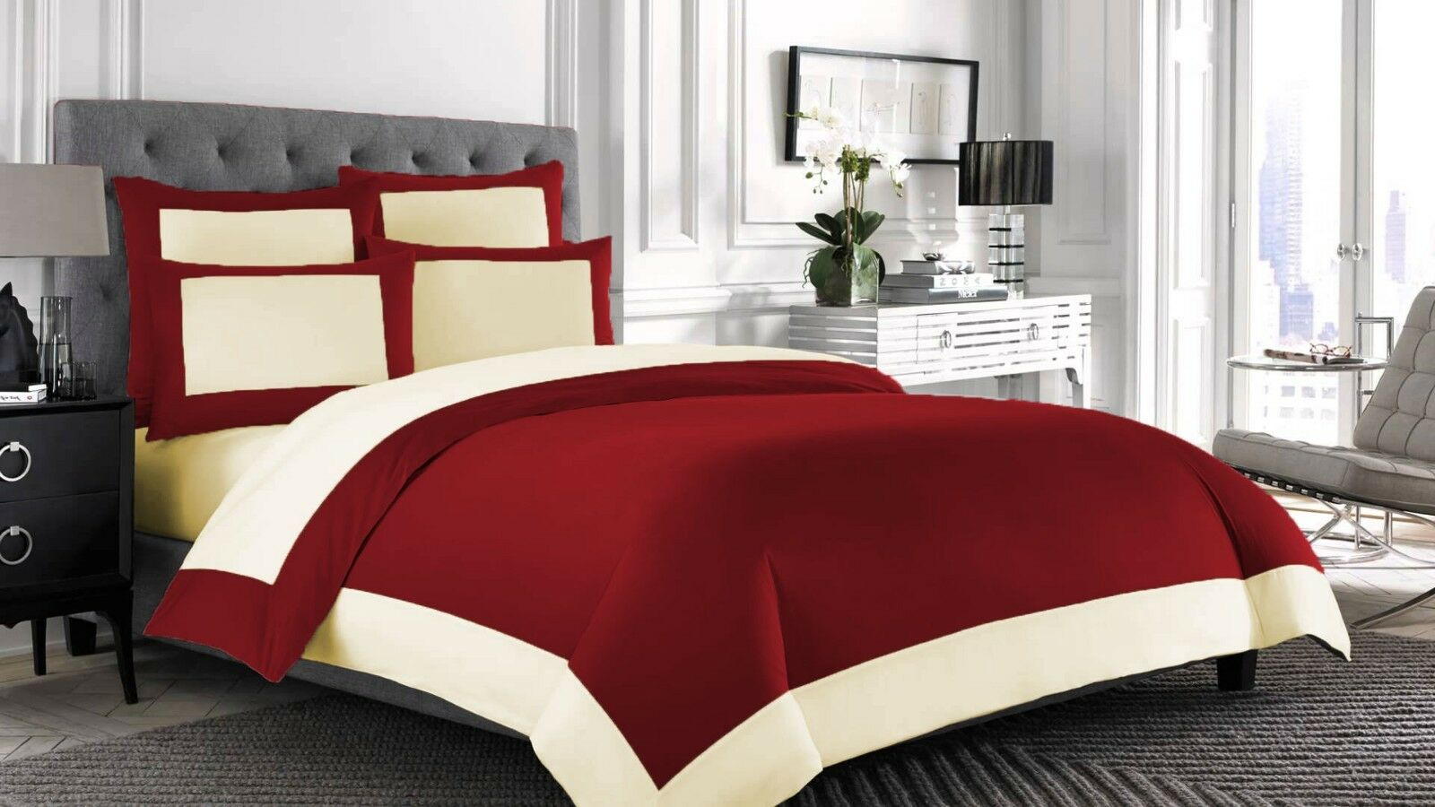 Egyptian Cotton 1000 Thread Count Border 1 Piece Flat Sheet All Sizes All colors