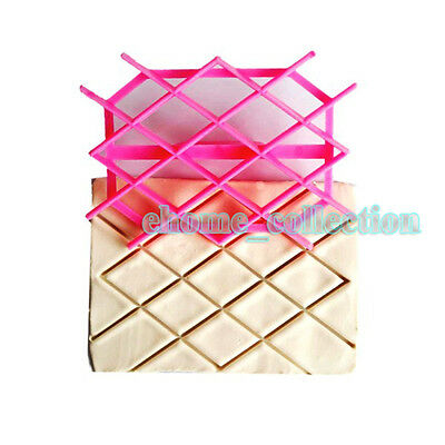 Diamond Rhombus Stampo Quilted Cake Fondant Cutter Embossing Mould DIY Tools
