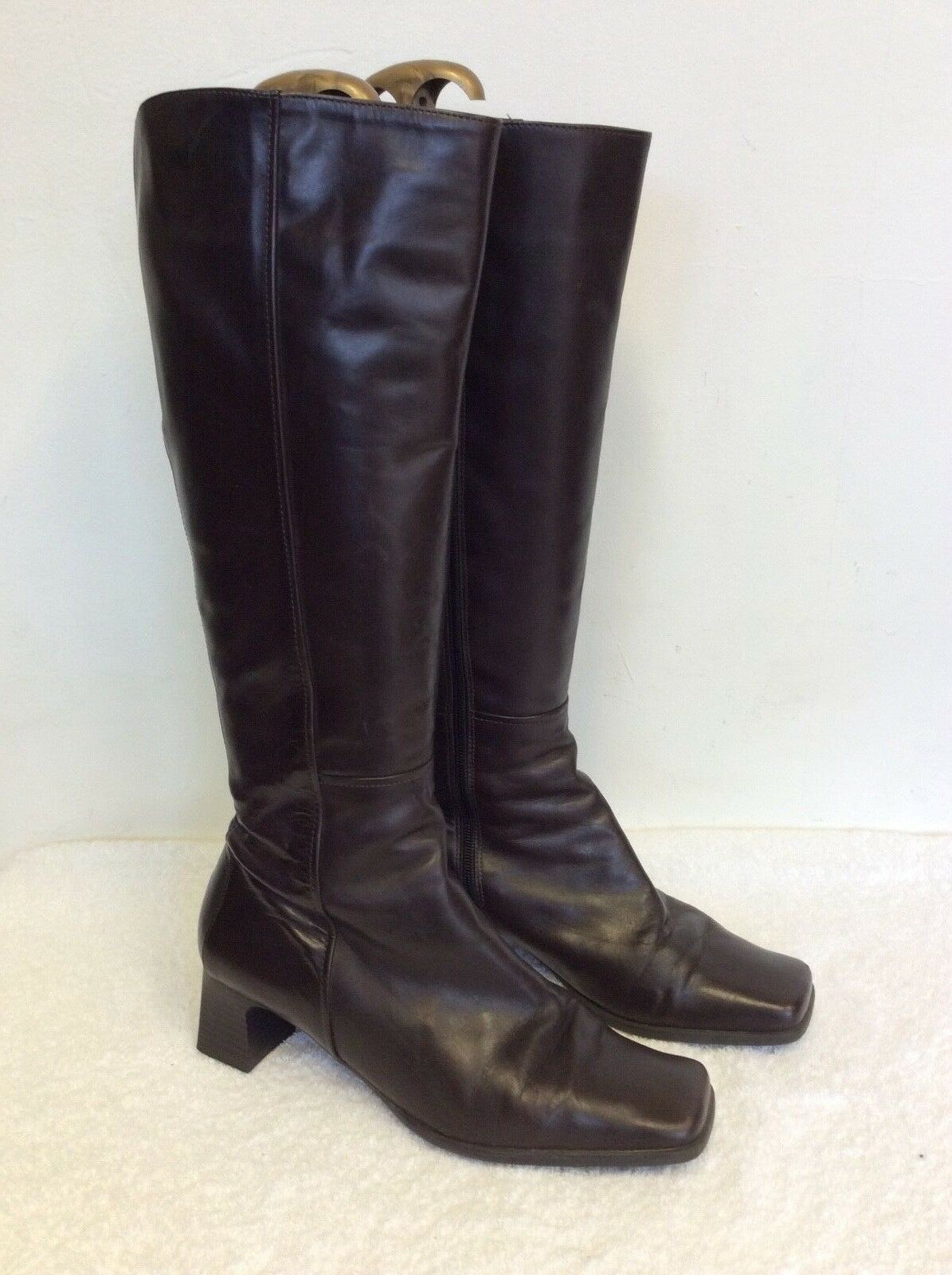 PAVACINI INTERNATIONAL DARK  BROWN LEATHER KNEE HIGH Stiefel 7/40 SIZE 7/40 Stiefel 7afed2