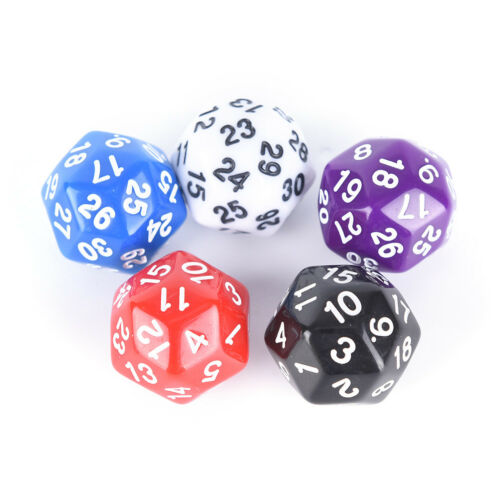Gaming würfel dreißig seitige sterben nummer 1-30 5 Farben Acryl Würfel Best JE