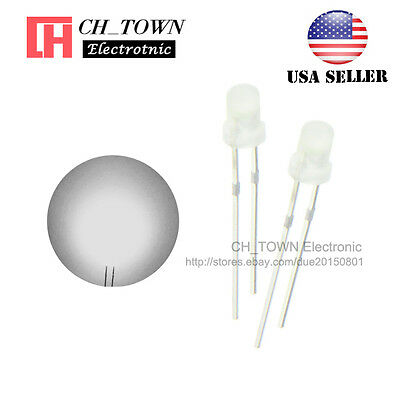 100pcs 5mm Diffused White Color Red Light Round Top LED Emitting Diodes USA