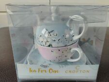 crofton tea for one tea set butterfly design pastel blue.pink new