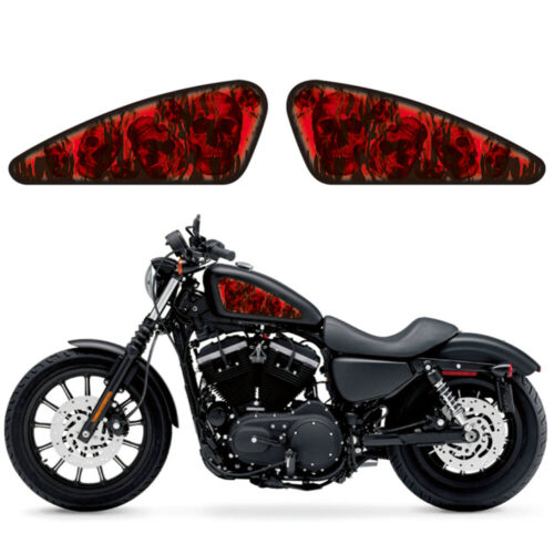 2 x  Red Flame Fuel//Oil Tank Decals Emblem Badges For Harley