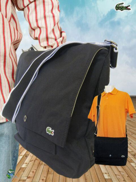 d704914a43 LACOSTE MESSENGER Unisex Shoulder Bag New City Casual 5 Black AUTHENTIC