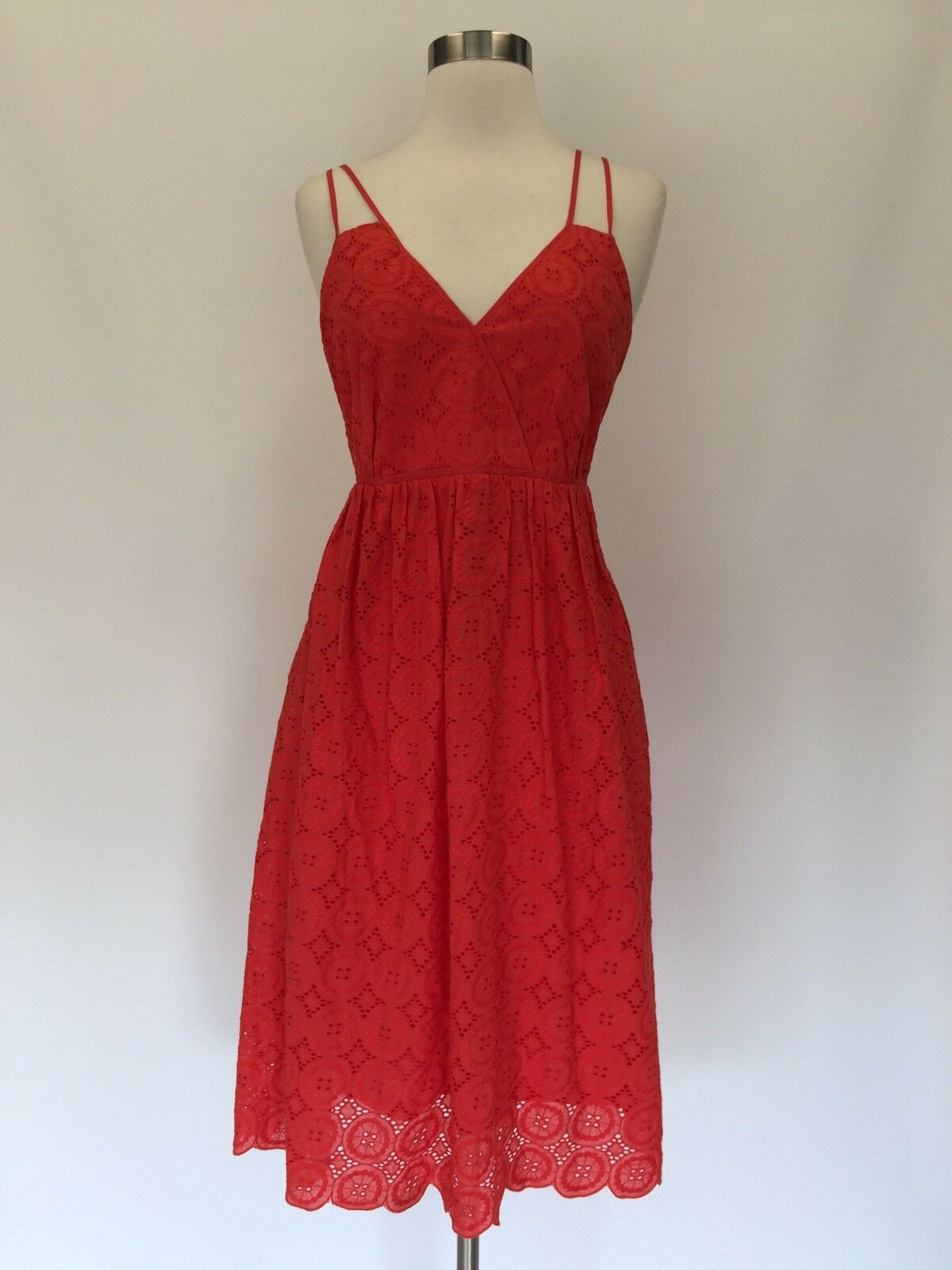 NEW JCREW Petite double-strap midi dress in eyelet Sunset Red Sz 4P G6865