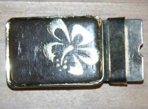 Vintage-Belt-Buckle-Silver-Gray-Decorative-Metal-Floral-Logo-Tighten-Clasp