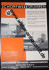 Werbeblatt um 1935 Borsig Hall Schöpfwerkspumpen Pumpen Reklame 2-seitig