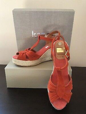 b33a99da8da Sandals KANNA Suede Espadrille Sz 10 40 Peep Toe Wedge Orange Red Made In  Spain | eBay
